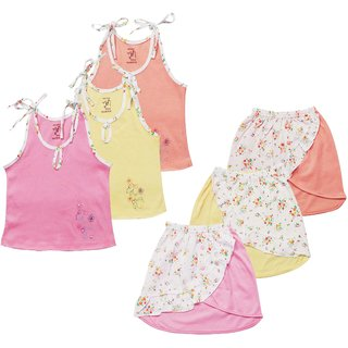 Jo kids wear Baby Girl Cotton Dress Set (Top and Skirts), Multi Color, Set of 3