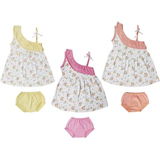 Jo kids wear Baby Girl Cotton Dress Set (Frock and Panties), Multi Color,Set of 3