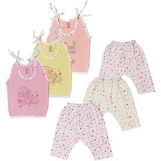 Jo kids wear Baby Girl Cotton Dress Set (Top and Leggings), Multi Color,Set of 3