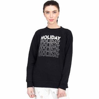 Kotty Women's Black Round Neck Sweatshirt