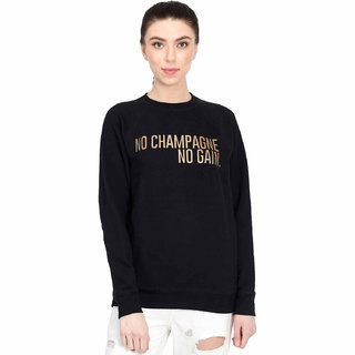 Kotty Women's Black Round Neck Sweatshirt