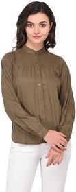 Purys Women Solid Casual Dark Green Shirt