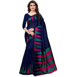 Indian Beauty Women's Blue Color Art Silk With Blouse Sarees