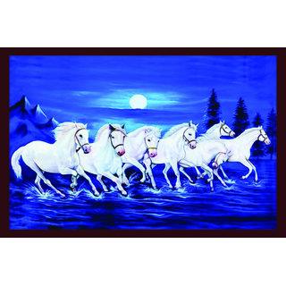 Vastu White Seven Horse Running Sticker Vinyl (12 X 18 Inch) Galaxy
