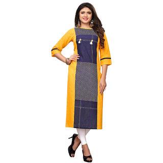 Swaron Yellow Slub Cotton Straight Checks Printed Kurta