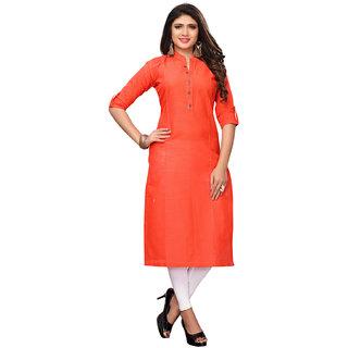 Swaron Orange Slub Cotton Straight Plain Dyed Kurta