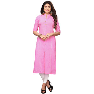 Swaron Pink Slub Cotton Straight Plain Dyed Kurta