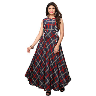 Swaron Black Rayon Anarkali Checks Printed Kurta