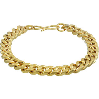 24KT, 1 Micron Gold Plated Brass, Small Flat Interlink Smooth and Flexible, Fashion Bracelet Men Women