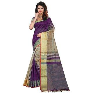 Florence Purple Polycotton Silk Woven saree with blouse