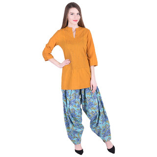 Nascency Cotton Solid Mandarin Collar 3/4 Sleeve Straight Mustard Casual and Party Wear Women Kurti With Patiala