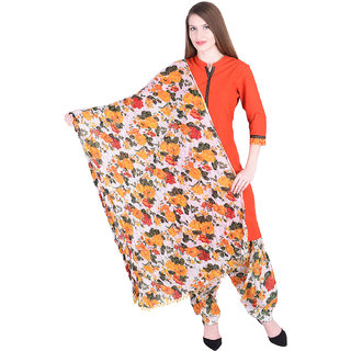 Nascency Cotton Printed Mandarin Collar 3/4 Sleeve Straight Orange Casual and Party Wear Women Kurti With Patiala And Dupatta