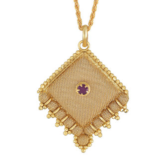Gold Plated Brass, Handmade, Kite Shaped, Faux Burma Ruby Studded, Fashion Chain Pendant Women Traditional Stylish