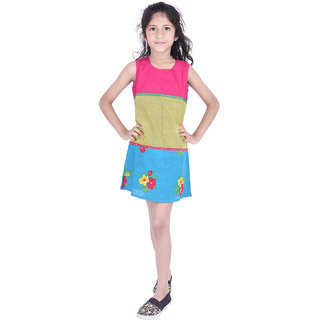 AMMANYA Girls Cotton Printed A-line Knee Length Multicolor Dress