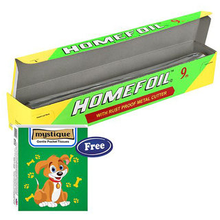 Homefoil Food Wrap Aluminium Foil (9 m) With 10 pulls Pocket Tissue
