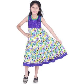 AMMANYA Girls Cotton Printed Flared Knee Length Purple Dress