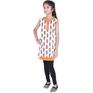 AMMANYA Girls Cotton Printed Straight Knee Length White Kurti