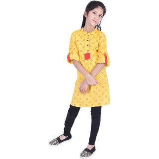 AMMANYA Girls Rayon Printed A-line Knee Length Yellow Kurti