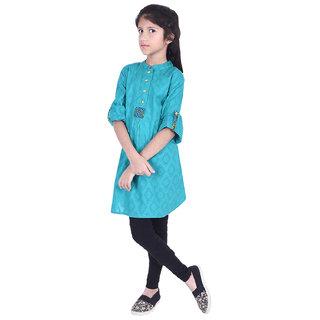 AMMANYA Girls Cotton Jacquard  Printed A-line Knee Length Sky blue Kurti