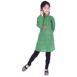 AMMANYA Girls Cotton Printed A-line Knee Length Green Kurti