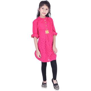 AMMANYA Girls Cotton Jacquard Solid A-line Knee Length Pink Kurti