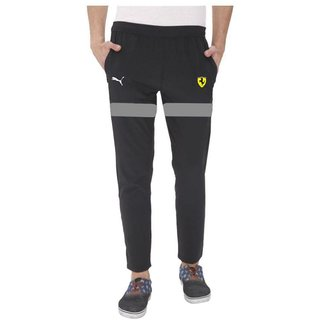 Puma Black Polyester Lycra Men Trackpant