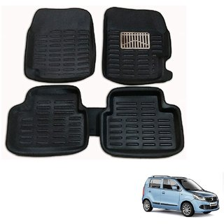 Auto Addict Car 3D Mats Foot mat Black Color for Maruti Suzuki WagonR
