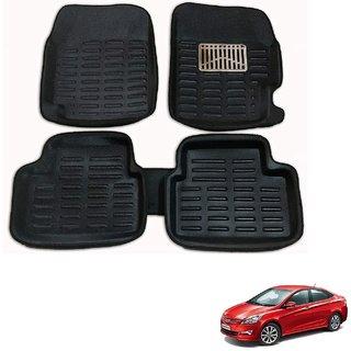 Auto Addict Car 3D Mats Foot mat Black Color for Hyundai Verna Fluidic 4S