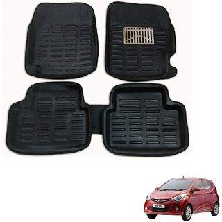Auto Addict Car 3D Mats Foot mat Black Color for Hyundai Eon