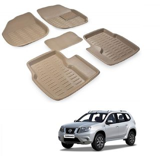 Auto Addict Car 3D Mats Foot mat Beige Color for Nissan Terrano