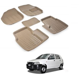 Auto Addict Car 3D Mats Foot mat Beige Color for Maruti Suzuki Alto