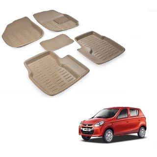 Auto Addict Car 3D Mats Foot mat Beige Color for Maruti Suzuki Alto 800
