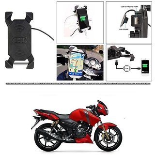 Buy KunjZone Motorcycle Rotating Cell Phone Stand Mount Holder USB Charger For TVS Apache RTR 160 Online - Get 47% Off