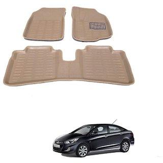 Auto Addict Car 3D Mats Foot mat Beige Color for Hyundai Verna Fluidic