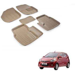 Auto Addict Car 3D Mats Foot mat Beige Color for Hyundai Eon