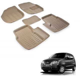Auto Addict Car 3D Mats Foot mat Beige Color for Hyundai Santro Xing