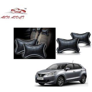 Auto Addict Dotted Black Neck Rest Cushion Pillow Set Of 2 Pcs For Maruti Suzuki Alto