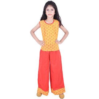 AMMANYA Girls Cotton Printed Yellow Top with palazzo