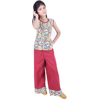 AMMANYA Girls Cotton Flax Printed Multicolor Top with palazzo