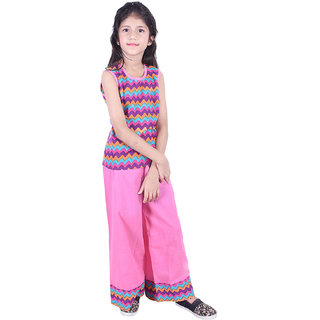 AMMANYA Girls Cotton Printed Pink Top with palazzo