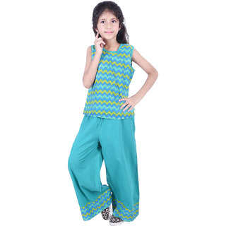 AMMANYA Girls Cotton Printed Turquoise Colour Top with palazzo