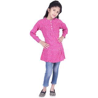 AMMANYA Girls Rayon Printed Flared  Pink Top