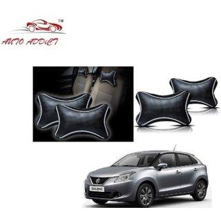 Auto Addict Dotted Black Neck Rest Cushion Pillow Set Of 2 Pcs For Chevrolet UVA