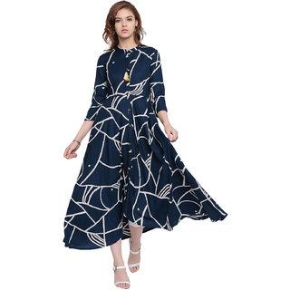 2924c755b534 Buy Pinky Pari Rayon Printed Blue Asymmetric Long Kurti Online - Get ...