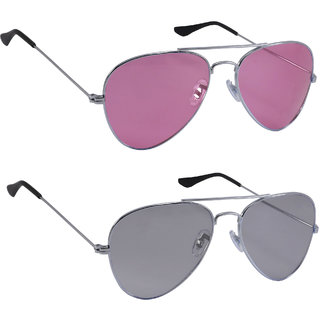 3058359f91 Buy Derry Combo Of Pink And Light Black Aviator Style Unisex Sunglasses  Online - Get 89% Off