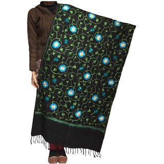 Varun Cloth House Womens Woollen Semi Pashmina Kashmiri Embroided Stole (vch5050, Black, Free Size)
