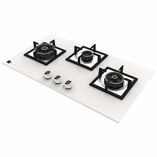 Health pure Elentra 3 Burner Glass Top Hob/Gas Stove (White)
