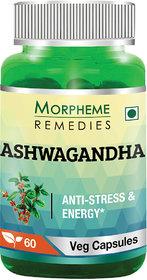 Morpheme Remedies Ashwagandha (Withania somnifera) 500mg Extract 60 Veg Caps