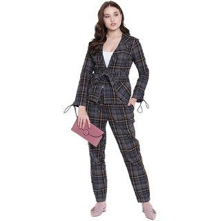 Texco Woman Grey And White Checkerd Stylish Trousers