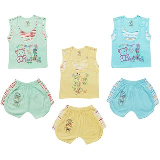 Jo Kidswear Baby Boy's Cotton Clothing Set  (Top and Shorts), Multi Color, Set of 3 (1008)